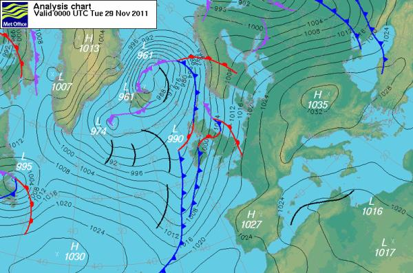 Surface pressure forecast from the met office